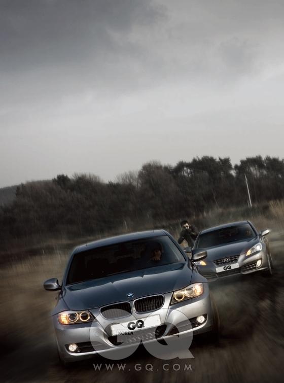 앞서 달리는 BMW 320d에는 세상에서 가장 강력한 2리터 디젤엔진이 달려 있다. 파워가 무려 177마력이나 돼서 단 8초 만에 시속 1백 킬로미터로 가속한다. 뒤에 달리는 현대 제네시스 쿠페 GT-R은 대한민국 최초의 후륜구동 스포츠 카다. 3.8리터의 넉넉한 배기량에서 303마력이 칼칼하게 터져 나온다. 세계적인 수준이다. 3천3백92만원