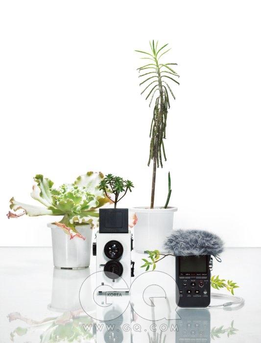 이안 반사 카메라를 현대적으로 재해석한 토이 카메라 블랙 버드 플라이는 17만5천원, 슈퍼헤즈 by 레드카메라. 4GB의 내장 메모리에 고감도 마이크로 스테레오 사운드를 담을 수 있는 녹음기 PCM-M10은 40만원대 초반, 소니. (털실 모자 같은 윈도 스크린은 별매. 야외에서 바람소리를 방지할 때 사용한다.) 뒤쪽의 흰색 화분 왼쪽은 홍공작, 오른쪽은 금접. 카메라에 심은 화초는 유접곡. 녹음기 양옆에 꽂힌 가지는 은서.