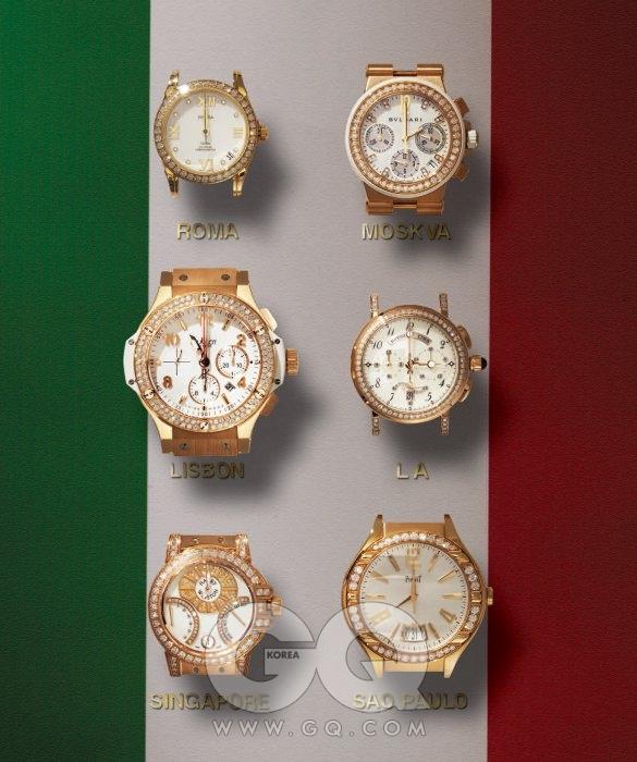 왼쪽 위부터 시계 방향으로) 18K 골드 케이스에 다이아몬드가 장식된 드빌 코-액시얼 레이디 2천4백95만원, 오메가. 베젤에 브릴리언트 컷 다이아몬드 43개가 세팅된 디아고노 다이아몬드 가격 미정, 불가리. 18K 로즈 골드 케이스 마린 컬렉션 가격 미정, 브레게. 43mm 핑크 골드 케이스에 다이아몬드를 장식한 폴로 가격 미정, 피아제. 다이얼과 베젤에 브릴리언트 컷 다이아몬드가 세팅된 오션 바이레트로 가격 미정, 해리 윈스턴. 44mm 케이스 포르토 세르보 3천9백만원대, 위블로.