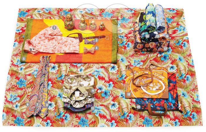 Flower Print1 꽃무늬 반팔 셔츠 28만8천원, 엔지니어드 가먼츠 by 샌프란시스코 마켓. 2 꽃무늬 마트로시카 목각 인형 3만원대, 옥션. 3 위빙 보타이 7만원대, 시스템 옴므. 4 꽃무늬 보타이 16만원, 엔지니어드 가먼츠 by 일 치르꼬. 5 비치 타월 가격 미정, 에르메스. 6, 7, 8 페이즐리 무늬 타이 각각 29만원, 모두 랄프 로렌 퍼플 라벨. 9 꽃무늬 면 셔츠 40만원대, 에트로. 10 나뭇잎 무늬 리넨 셔츠 50만원대, 에트로. 11 페이즐리 무늬 재킷 가격 미정, 에트로. 12 나뭇잎 무늬 수영복 5만원대, H&M. 13, 16 일본 풍 그림 수영복 가격 미정, 모두 살바토레 페라가모. 14 나뭇잎 무늬 수영복 6만원대. H&M. 15 하와이안 프린트 수영복 7만원대, 타미 힐피거. 17 상자를 감은 꽃무늬 리넨 스카프 20만원, 프랑코 페라리 by 샌프란시스코 마켓. 18 열쇠 주머니가 달린 실크 프린트 가방 가격 미정, 에르메스. 19 꽃무늬 캔버스 토트백 가격 미정, 어나더 프로덕트 미즈모 at 데일리 프로젝트.
