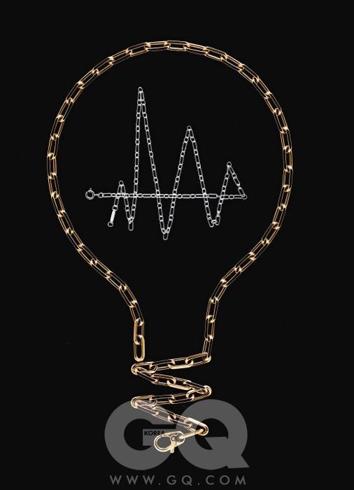 옐로 골드 산토스 뒤몽 체인 8백만원대(55cm), 까르띠에. 스틸 라운드 사각 체인(50cm) 10만원대, 티파니.