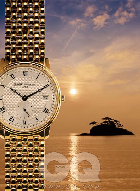 '옐로 골드' 도금 케이스 시계 1백35만2천원, 프레드릭 콘스탄트.
