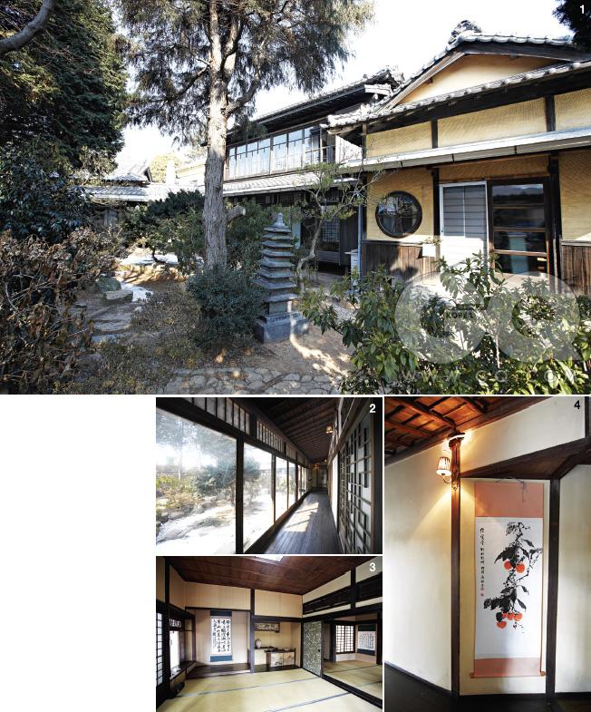 1. 군산 신흥동 일본식 가옥의 정원. 2. 방과 방 사이를 잇는 복도. 3. 방 내부엔 다양한 물품이 전시되어 있다. 하지만 밖에서 볼 뿐이다. 4.복도의 한 모퉁이.