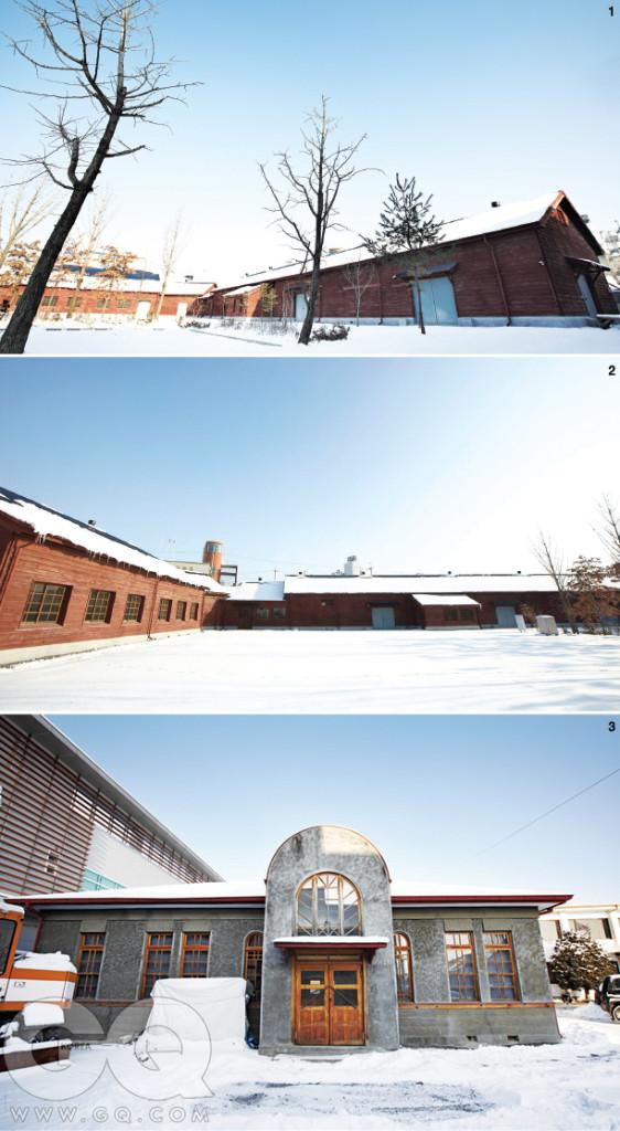 1. 제천 엽연초 수납 취급소 전경. 2. 눈이 덮인 곳은 전부 잔디밭이다. 건물은 'ㄱ'자로 꺾여있다. 3. 제천 엽연초 생활협동조합 구사옥.