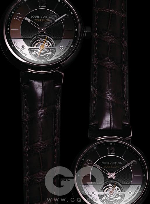 100시간파워 리저브가 가능한탕부르 투르비옹 23 에센셜. 44mm 화이트 골드 케이스로, 전세계 23개만 만들었다.1억 3천5백만원대,루이 비통.