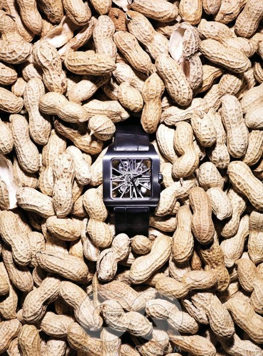 티타늄과 다이아몬드 강도의 ADLC로 코팅한 베젤을 사용한 시계. 산토스 뒤몽 스켈레톤 카본, 5천5백만원대, 까르띠에.