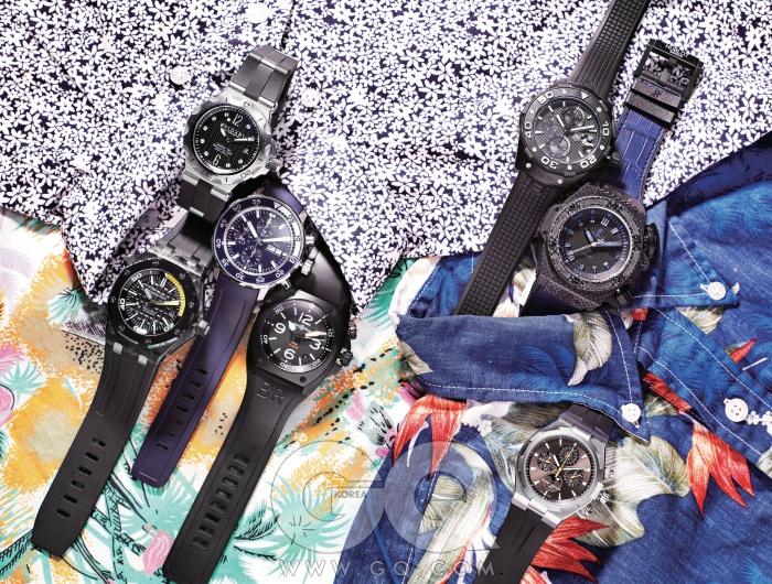 HAWAIIAN SHIRTS다이버 시계를 찬다고 꼭 다이빙을해야 하는 건 아니다. 그건 깊은 바다와자신을 떼어놓지 않으려는 열망이니까.알로하 셔츠도 마찬가지고.왼쪽부터) 잠수 경과 시간을 간편하게보여주는 디아고노 프로페셔널 스쿠버7백만원대, 불가리. 튼튼하게 조인 나사가믿음직한 로열 오크 오프쇼어 다이버 가격미정, 오데마 피게. 강건하게 만들어 웬만한수압쯤은 걱정없는 뉴 아쿠아 타이머크로노그래프 가격 미정, IWC. 카본 케이스로제작해 1000미터 방수가 가능한 BR 02 카본피니시 8백40만원, 벨앤로스. 헬륨가스 방출밸브가 위력적인 아쿠아레이서 500미터칼리버5 가격 미정, 태그호이어. 카본 케이스는기본, 9시 방향에 60초 카운터까지 달려 있는킹 파워 오셔노그래픽 4000 카본 데님 가격미정, 위블로. 티타늄으로 스틸 케이스를보완한 큼지막한 크로노그래프 퍼페추얼캘린더 8천만원대, 바쉐론 콘스탄틴. 잔잔한흰색 꽃무늬 셔츠 10만4천원, 칼하트. 파란색하와이안 셔츠 25만9천원, 엔지니어 드 가먼츠by 샌프란시스코 마켓. 전통적인 알로하 셔츠24만9천원, 로베르토 프리드먼 by 존화이트.