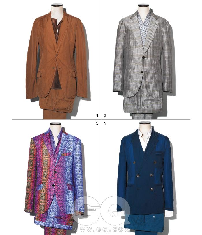 1 바삭거리는 갈색재킷과 가죽 톱,팬츠 가격 미정,모두 보테가베네타. 2 체크무늬 재킷,기모노 셔츠, 팬츠가격 미정, 모두루이 비통. 3 화려한 패턴의재킷 가격 미정,셔츠 46만원,팬츠 66만원모두 에트로. 4 파란색 더블브레스티드 재킷,흰색 셔츠, 면 팬츠가격 미정, 모두에르메스.