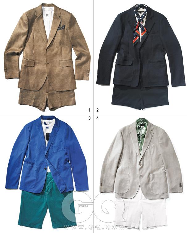 1 갈색 리넨 재킷1백49만원,쇼츠38만5천원,모두 김서룡옴므. 페이즐리무늬 포켓치프17만8천원,랄프 로렌 퍼플라벨. 2 남색 재킷과쇼츠, 벨트가격 미정,모두 엠포리오아르마니.흰색 니트 톱과스카프가격 미정,구찌. 3 푸른색 재킷,사각 패턴니트, 초록색쇼츠 가격미정, 모두질 샌더. 4 크림색 리넨재킷 1백23만원,라르디니 by샌프란시스코마켓. 반짝이는셔츠 가격 미정,버버리 프로섬.흰색 쇼츠43만원, 랄프로렌 블랙 라벨.
