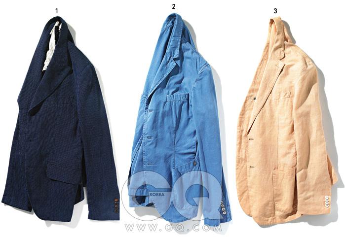 1 남색 재킷43만8천원,커스텀멜로우. 2 하늘색 재킷32만8천원,메종 by샌프란시스코마켓. 3 오렌지색리넨 재킷8만원대,유니클로.