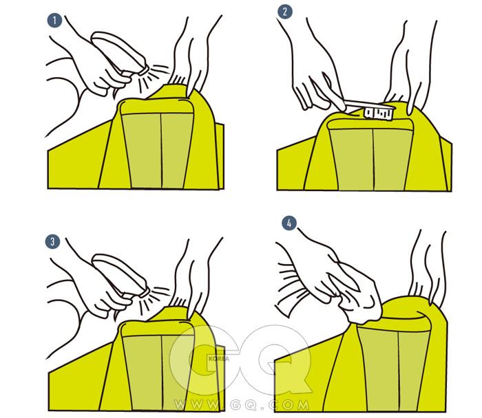 1 먼지나 오염 부위에분무기로 물을 뿌린다.2 칫솔로 슬슬 빗질하며먼지를 덜어낸다.3 다시 한 번 분무기로물을 충분히 뿌려준다.오염된 부분이 없어질때까지 세 번 정도반복한다.4 깨끗한 타월로 톡톡두드리며 나머지 먼지를가볍게 닦아낸다.