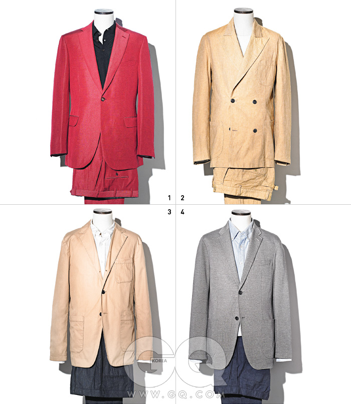 1 빨간색 리넨 수트7백20만원,브리오니. 검정색케시미어 피케 셔츠가격 미정, 구찌. 2 낙타색 더블브레스티드 재킷56만3천원, 팬츠25만9천원, 모두이스트 하버서플러스 by샌프란시스코 마켓.스웨트 셔츠2만9천9백원,유니클로. 3 낙타색 면 재킷32만8천원,흰색 리넨 셔츠10만원대, 리넨 팬츠가격 미정, 모두클럽 모나코. 4 신축성이 뛰어난회색 면 혼방 재킷7만9천9백원,파란색 버튼다운셔츠 3만9천9백원,면과 리넨이 섞인꽃무늬 팬츠4만9천9백원, 모두유니클로.