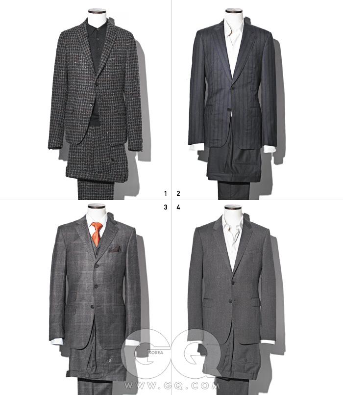 1 울에 다채로운소재를 섞어새로운 색깔과질감을 만든수트와 캐시미어피케 셔츠 가격미정, 모두 구찌. 2 정중한스트라이프 울재킷, 울 팬츠,면 셔츠 가격미정, 모두루이 비통. 3 울과 캐시미어가섞인 회색스리피스 수트3백만원대,셔츠와 포켓치프가격 미정, 모두알프레드 던힐. 4 어깨가 강인한잿빛 수트와 면셔츠 가격 미정,모두 버버리 런던.