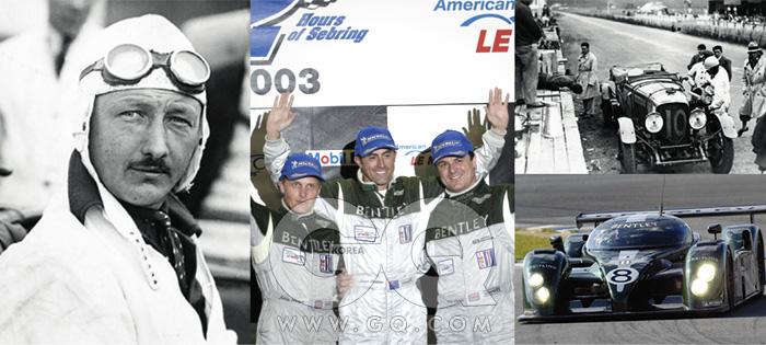 흑백 사진은 1927년과 1928년 르망 24시간 내구 레이스에서 연달아 우승한 벤틀리 레이싱역사의 전설, 팀 버킨과 벤틀리 3리터. 컬러 사진은 2003년 우승 당시의 모습.