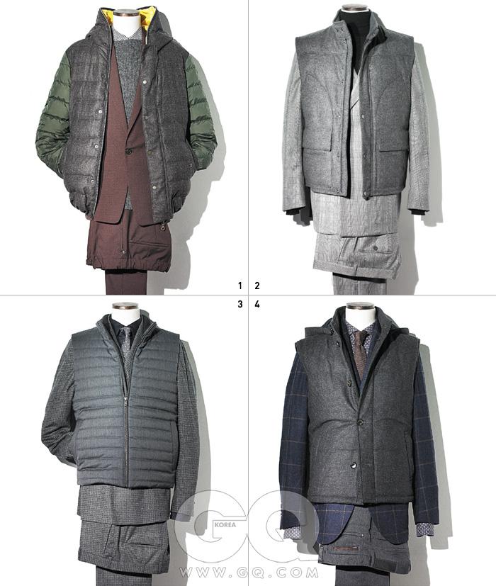 1 패딩 점퍼 가격 미정, 듀베티카 BY 긱샵.와인색 수트, 회색 스웨터, 체크 셔츠 가격 미정,모두 프라다.2 회색 패딩 베스트 1백만원대,회색 체크 수트 2백만원대, 모두 알프레드 던힐. 터틀넥 가격 미정, 구찌.3 회색 패딩 베스트, 회색 울 수트, 검정색 셔츠,도트 무늬 타이 가격 미정,모두 Z 제냐.4 회색 패딩 베스트, 체크 재킷, 셔츠, 타이, 데님 팬츠 가격 미정, 모두 에르메네질도 제냐.