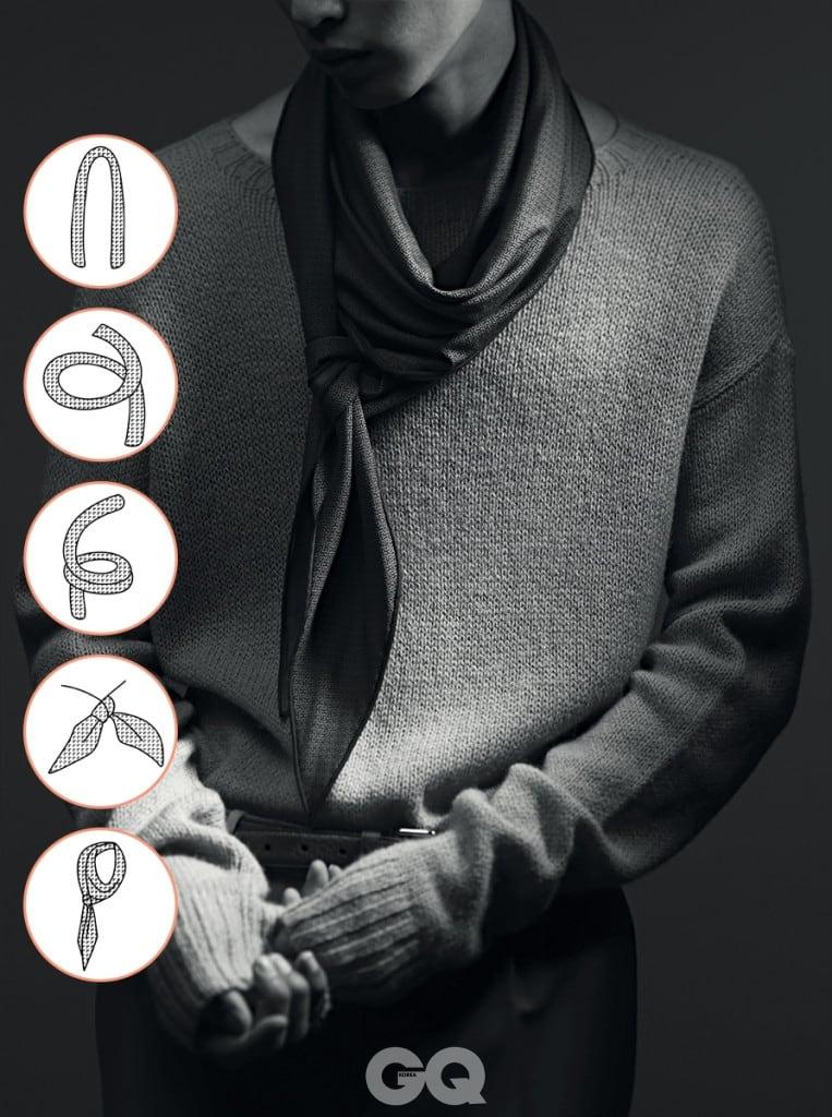 베이지색 니트와 하늘색 팬츠, 갈색 벨트 가격 미정 모두 프라다. 잔잔한 H로고 프린트 스카프 가격 미정, 에르메스.
