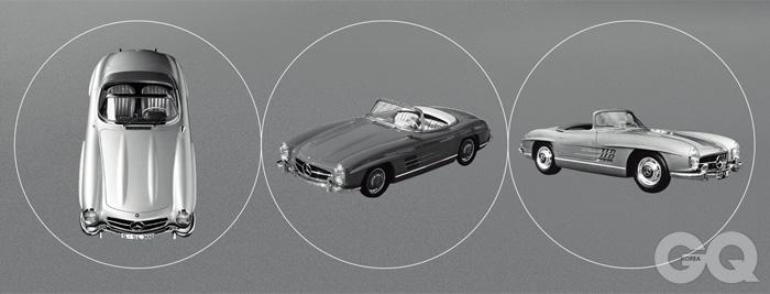 메르세데스-벤츠 300SL 로드스터 1957~1963 SLS AMG 로드스터는 1957년에 출시된 기념비적인 모델, 300SL 로드스터의 디자인 언어를 그대로 계승했다. 긴 보닛과 짧은 엉덩이도, 라디에이터 그릴을 수평선처럼 가로지르는 단 하나의 가로줄도 그대로다. 봄바람 같은 선, 태생적인 우아함도 착실하게 살아 있다. 2013년 11월 21일, 자동차 전문 경매업체 RM 옥션 홈페이지에 개제된 1960년식 300SL 로드스터의 가격은 1백65만 달러, 한화로 약 17억 5천만원이었다.