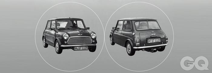 1959, 미니 마크 1가끔 서울 시내에서 이 차를 볼 때가 있다. 하나같이 정성껏 손질한 흔적이 느껴지는 차들. 진짜 사랑하는 사람만이 가질 수 있는 차라는 걸 멀리서도 알 수 있다. 가장 기본적이고 고전적인 디자인. 1세대 미니도 아름다움과 효율을 동시에 갖추고 있다. 지금 도로 위의 모든 미니, 앞으로 출시될 또 다른 미니가 모두 이 한 대에서 비롯됐다.