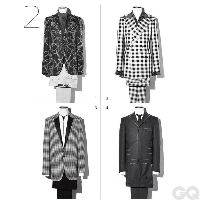 1, 말 그림 재킷과 카디건, 팬츠, 스카프 가격 미정, 모두 구찌. 2.깅엄 체크 더블 브레스티드 재킷 1백69만원, 팬츠 59만8천만원, 모두 김서룡 옴므. 꽃무늬 셔츠 가격 미정, 프라다. 3. 체크 패턴 재킷과 검정색 팬츠, 흰색 셔츠, 블로 넥타이 가격 미정, 모두 생 로랑 파리. 4. 흰색 스티치 무늬 재킷, 셔츠와 팬츠, 넥타이 가격 미정, 모두 보테가 베네타.