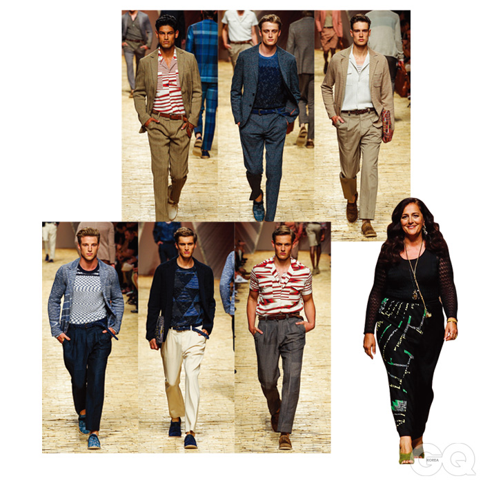 MISSONI 미쏘니를 책임지고 있는 안젤라 미쏘니는 겉멋만 잔뜩 든 건 절대 만들지 않는다. 매년 조금씩 다른 색깔을 쓰고 문양을 조합하며 단단한 브랜드를 윤기 나게 닦는다. 그래서 60년 전이나 지금이나 우아함은 여전하다. 올해는 서아프리카의 분위기를 살짝 빌려왔는데, 고전적인 스웨터나 오픈 넥 셔츠와 기절하도록 어울린다.