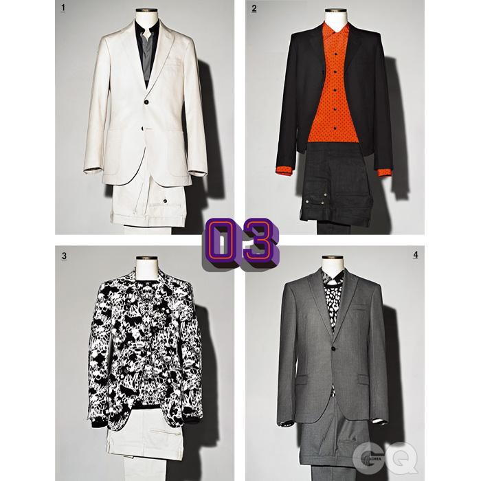 [1] 크림색 수트 1백10만원대, 캐롤리나 헤레나. 남색 셔츠 가격 미정, 에르메스. [2] 검정색 원 버튼 재킷과 빨간 셔츠, 청바지 가격 미정, 모두 생 로랑 파리. [3] 흑백 꽃무늬재킷과 니트, 아이보리색 팬츠 가격 미정, 모두 질 샌더. [4] 차분한 회색 수트 가격 미정, 보테가 베네타. 꽃무늬 셔츠와 니트 가격 미정, 생 로랑 파리.