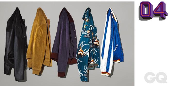 왼쪽부터) 스웨이드와 가죽이 섞인 남색 블루종 가격 미정, 에르메스. 모래색 스웨이드 블루종 2백만원대, 토즈. 자주색 스웨이드 블루종 가격 미정, 보테가 베네타. 하와이안 무늬 블루종 가격 미정, 프라다. 실크 블루종 가격 미정, 생 로랑 파리.