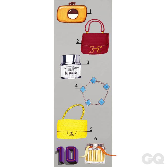 [01] 스피어 보더 놋 클러치 백 가격 미정, 보테가 베네타. [02] 콘스탕스 백 가격 미정, 에르메스. [03] 쎌루라 스위스 아이스 크리스털 크림 39만5천원, 라프레리. [04] 빈티지 알함브라 브레이슬릿 터콰이즈 가격 미정, 반클리프 아펠. [05] 옐로 저지 클래식 더블 플랩 백 가격 미정, 샤넬. [06] 끌로에 오드 퍼퓸 11만1천원(50ml), 끌로에.
