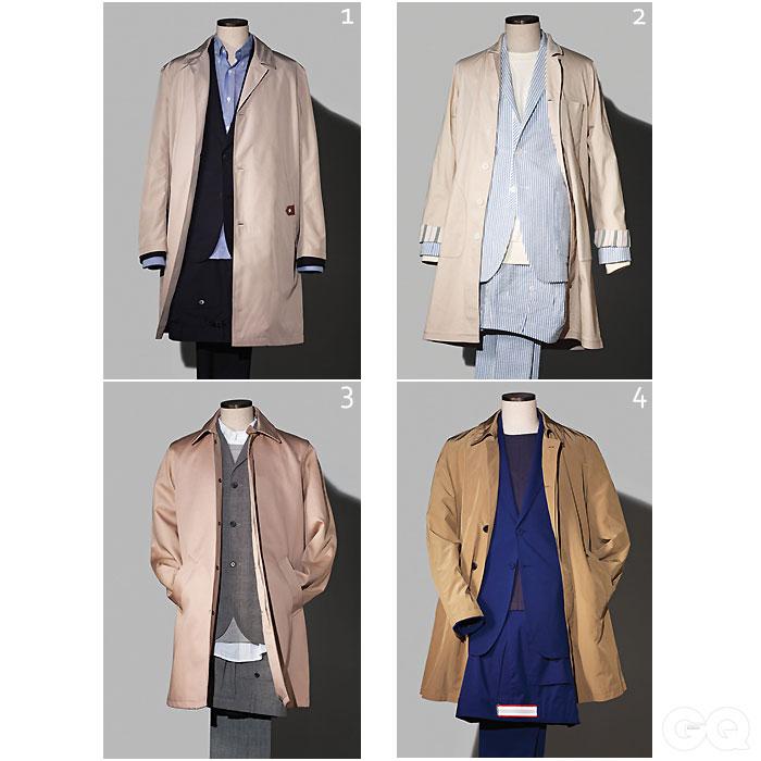 1. 코트, 수트, 셔츠 가격 미정, 모두 루이 비통. 2.코트 56만원, 로리엣. 수트 50만원대, R. 로리엣. 스웨트 셔츠 8만6천원, AA.지반 X R. 로리엣. 3.코트 35만9천원, 일꼬르소. 파란색 수트와 슬리브리스 톱 가격 미정, 모두 살바토레 페라가모. 4.코트 72만8천원, 스웨트 셔츠 24만8천원, 모두 A.P.C. 수트 가격 미정, 철동. 셔츠 가격 미정, 브룩스 브라더스.