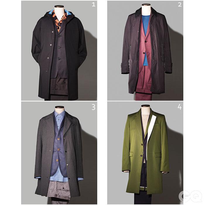 1. 코트, 수트, 셔츠 가격 미정, 모두 프라다. 2.코트 가격 미정, 버버리 런던. 수트 가격 미정, 구찌. 티셔츠 9만8천원, WESC. 3.코트 가격 미정, 엠포리오 아르마니. 재킷, 셔츠, 팬츠 가격 미정, 모두 조르지오 아르마니. 4. 코트 1백5만원, 수트 1백22만6천원, 스웨터 45만8천원, 모두 우영미.