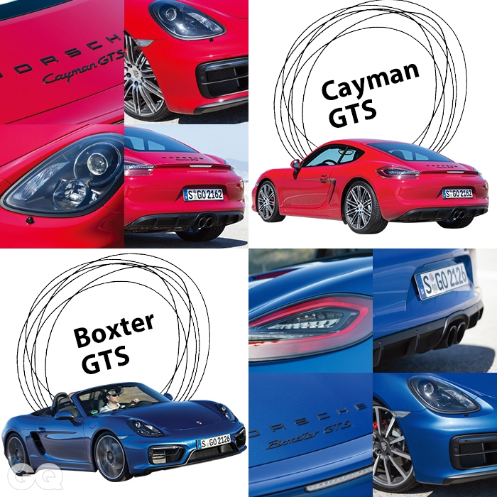 GTS의 검정색 포르쉐 박스터와 카이맨 GTS는 자동차의 인상을 좌우할 수 있는 거의 모든 곳에 검정색으로 힘을 줬다.