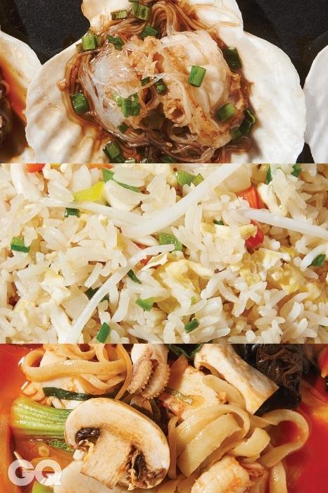 가리비찜, 볶음밥, 삼선짬뽕.가리비찜은 JS가든의 가을 신 메뉴로 하루 80개의 가리비만 식탁에 오른다.