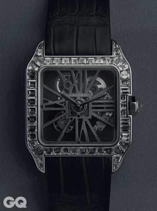 스켈레톤 무브먼트 브릿지가 다이얼의 로마숫자를 대신하는 산토스 뒤몽 스켈레톤 다이아몬드가격 미정, 까르띠에.