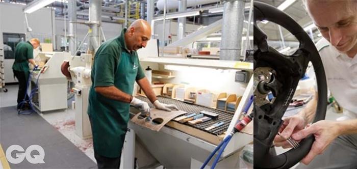 수작업의 세계벤틀리 공장에서는 이런 풍경이 흔히 보인다. 각각의 책상에 앉아서 재봉틀을 다루거나 가죽을 자르는 풍경. 목재를 다듬을 때 낮게 웅웅 거리는 기계 소리…. 핸들에 가죽을 씌울 때, 어떤 직원은 포크를 써서 정확한 간격을 가늠하기도 한다.