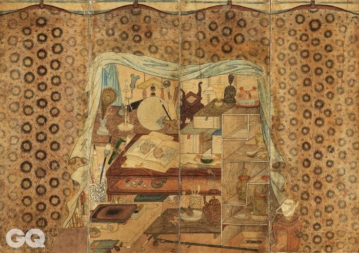 <호피장막도>, 8폭 병풍 중 2폭의 확대사진, 19세기, 종이에 채색, 128×355cm, 삼성미술관 리움.
