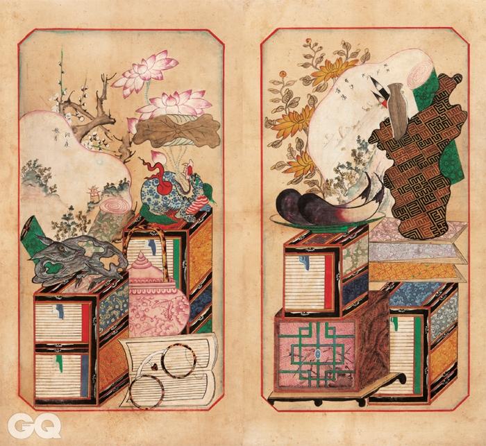 <책거리>, 8폭 병풍 중 4~5폭, 19세기, 종이에 채색, 각 55.7×31.7cm, 개인소장.