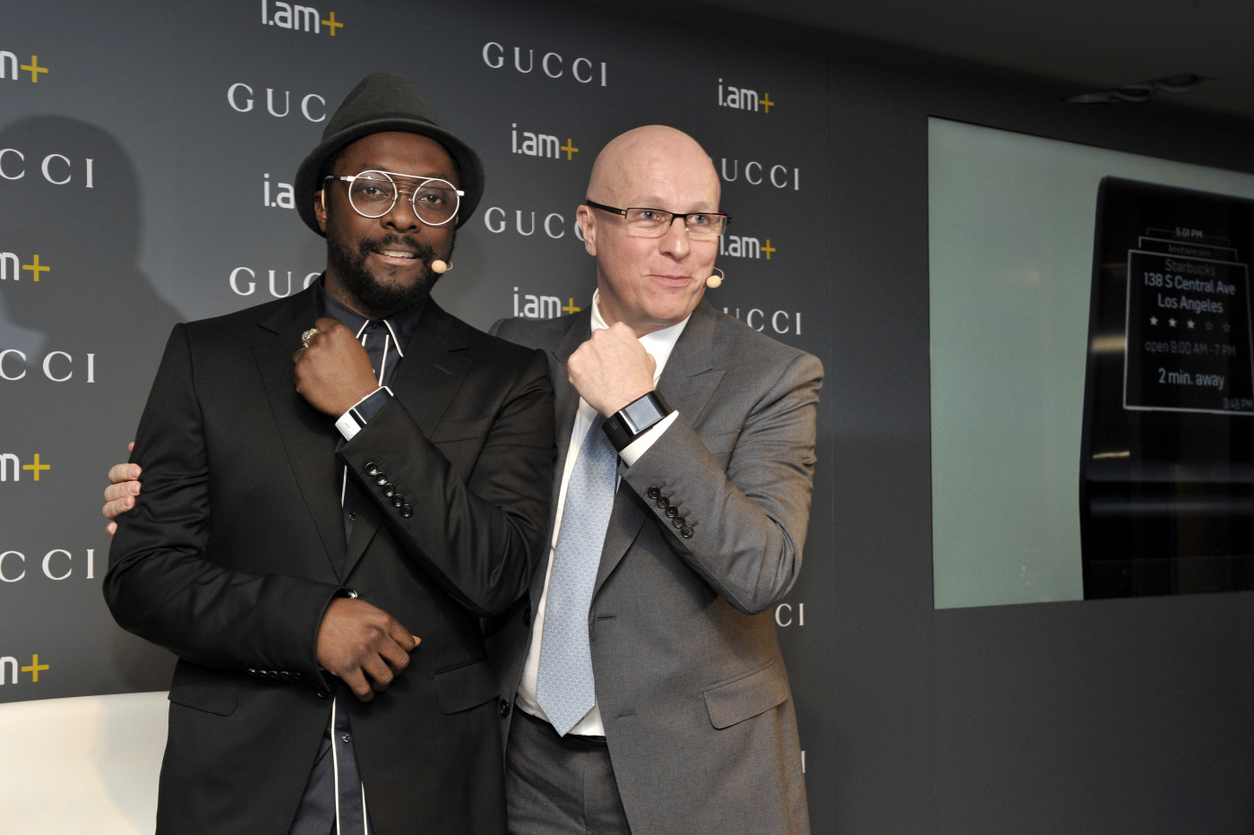 BASEL, SWITZERLAND - MARCH 19:  i.am+ Founder and CEO will.i.am and Gucci Timepieces President and CEO Stephane Linder pose during the Gucci Timepieces press conference on March 19, 2015 in Basel, Switzerland. Gucci Timepieces and the Founder and CEO of i.am+ will.i.am announce a special partnership for the development of innovative wearable device concept on the occasion of the 2015 edition of Baselworld, the watch industry's leading international trade fair.  (Photo by The Image Gate/The Image Gate)