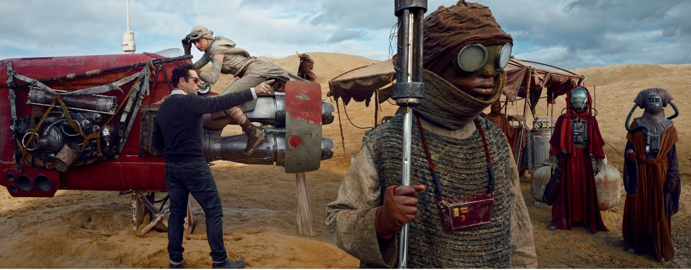 HOW BAZAARJ. J. Abrams directs actress Daisy Ridley for a scene in which her character, the young heroine Rey, pilots her speeder through a bustling marketplace on the planet Jakku.