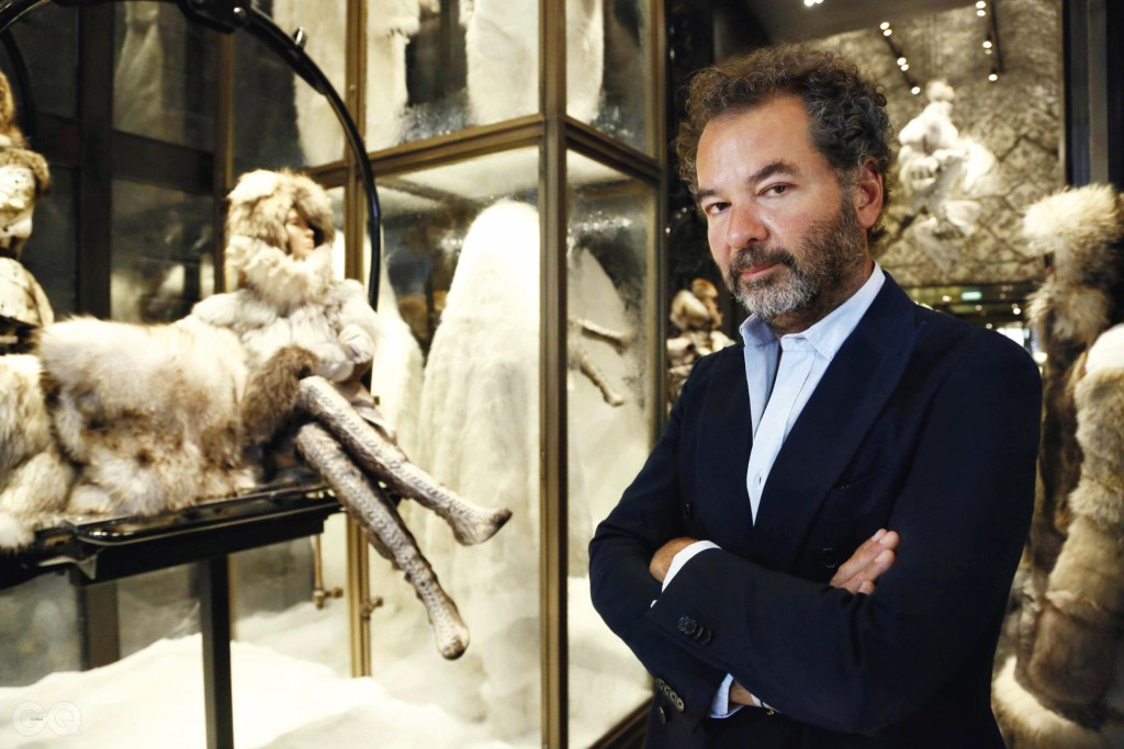 REMO RUFFINI, CHAIRMAN AND CREATIVE DIRECTOR OF MONCLER AS HE POSES AT MONCLER'S BOUTIQUE RUE DU FAUBOURG SAINT HONORE IN PARIS, FRANCE-30/08/2013., JDD_1222.40 %_ 00664009  _%