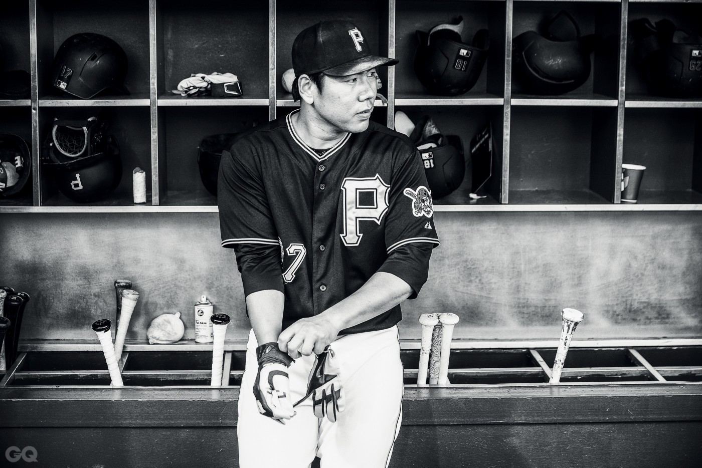 PITTSBURGH, PA - AUGUST 21: (EDITORS NOTE: Image has been converted to black and white) Jung Ho Kang #27 of the Pittsburgh Pirates looks on before the game against the San Francisco Giants at PNC Park on August 21, 2015 in Pittsburgh,Pennsylvania. (Photo by Rob Tringali/SportsChrome/Getty Images)