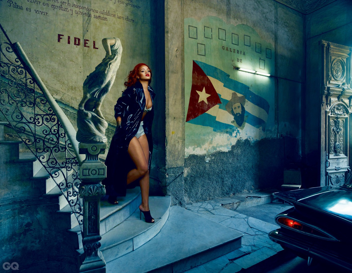 REBELLE WITH A CAUSE           Rihanna in a contemplative moment, alongside a 1959 Chevrolet Impala, at the paladar La Guarida on Concordia Street.