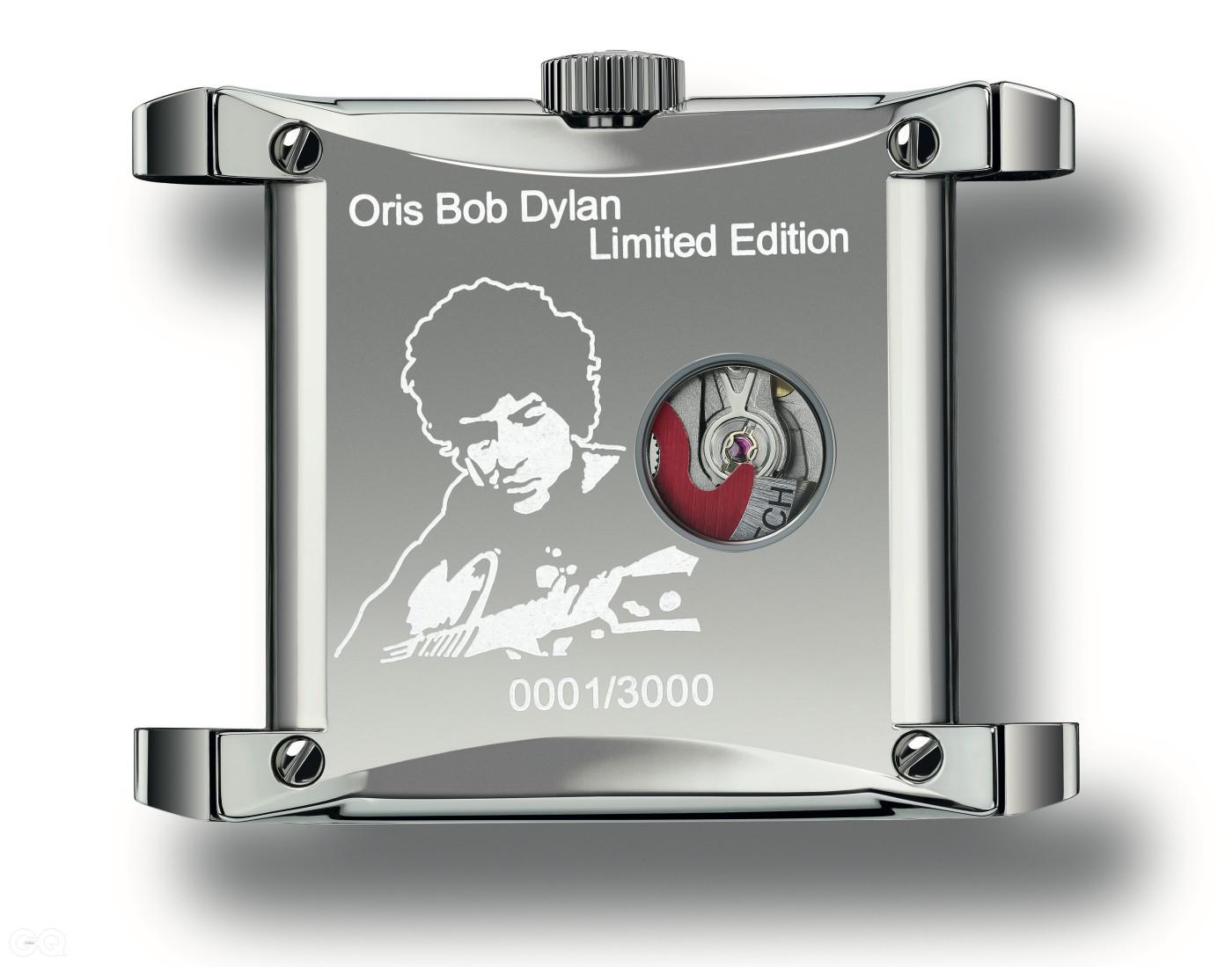 시계의 뒷면에는 밥 딜런의 초상과 3,000개 한정 제작을 상징하는 번호가 새겨졌다.