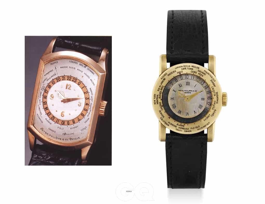 (왼쪽) 세계 최초의 월드타임 손목시계인 Ref. 515. (오른쪽) 세계 최초의 회전 베젤 방식 월드 타임 손목시계인 Ref. 542. 모두 파텍 필립을 통해 세상에 등장했다.