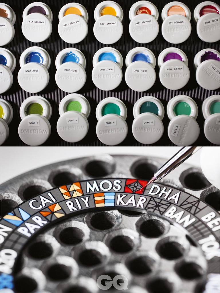 미니엄을 안료의 주 성분으로 사용해 만든 물감과 이를 적용한 시계. 루이 비통.