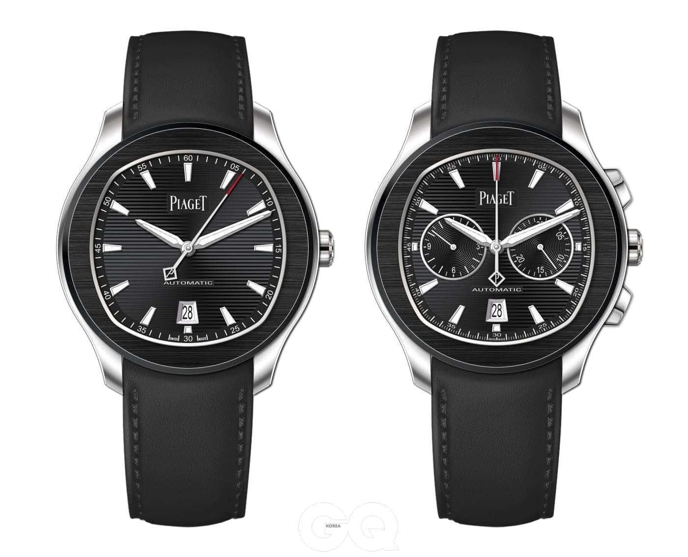 Ref. G0A42002(왼쪽)와 Ref. G0A42001(오른쪽)는 폴로 S 컬렉션 최초로 블랙 송아지 가죽 스트랩을 적용했다.