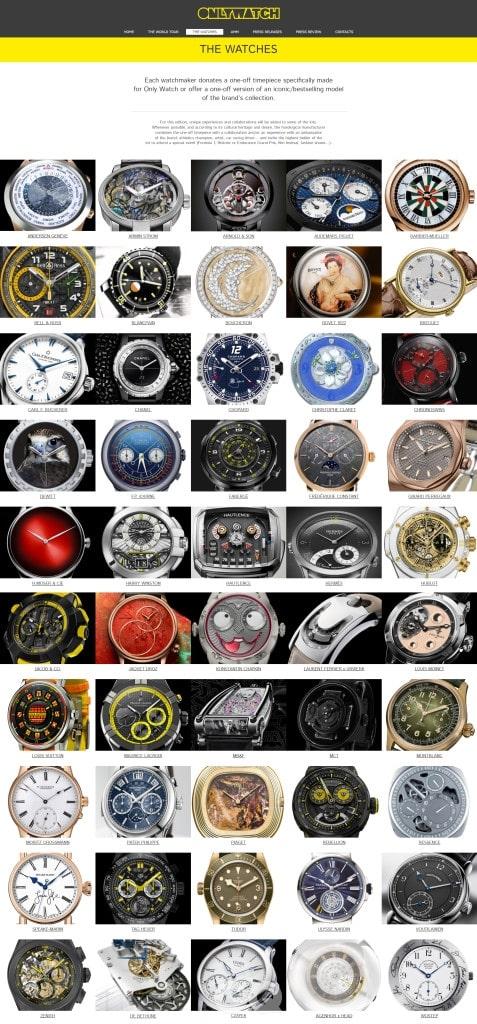 에 출품되는 50개의 시계들.