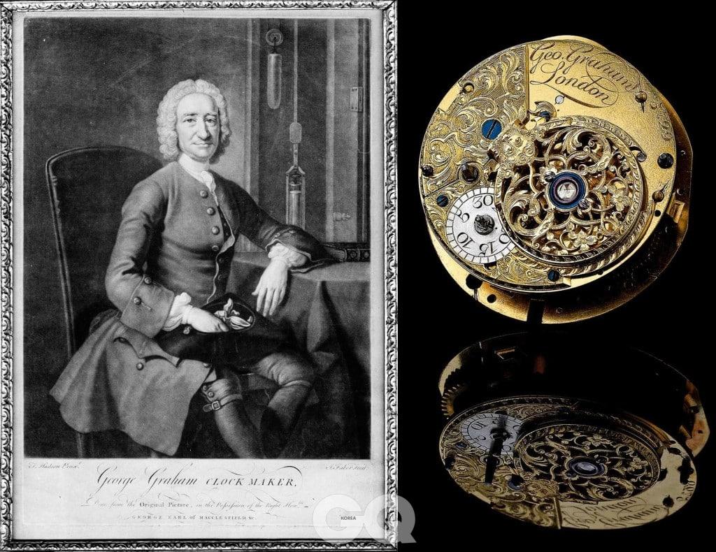 1673년에 영국에서 태어나 전설적인 시계 제작자로 활동한 조지 그라함의 모습과 그가 개발한 투르비용 무브먼트.