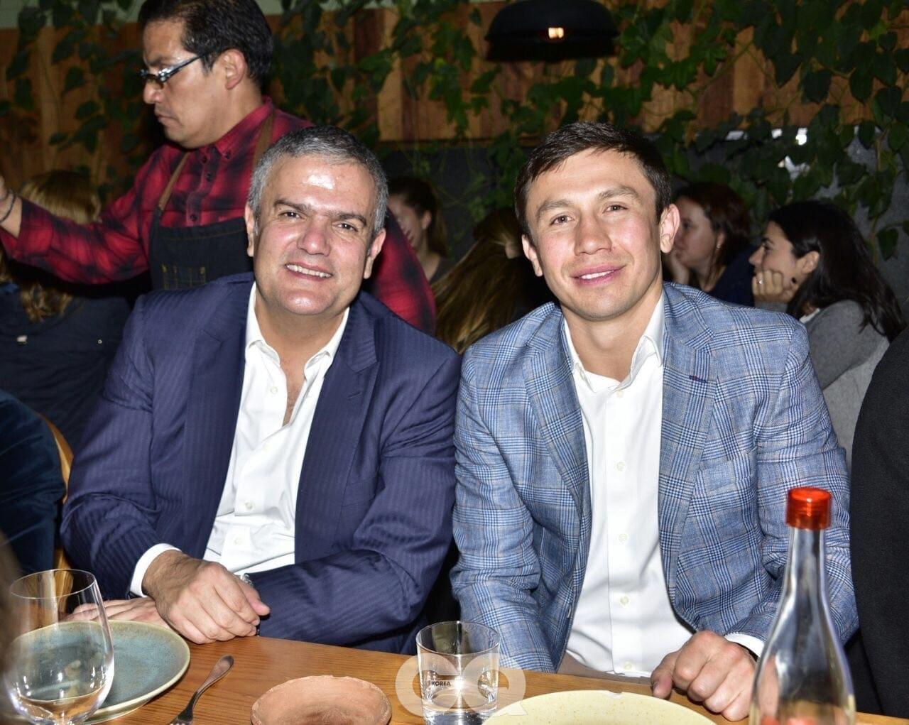 위블로의 CEO 리카르도 과달루페와 포즈를 취한 게나디 골로프킨.
