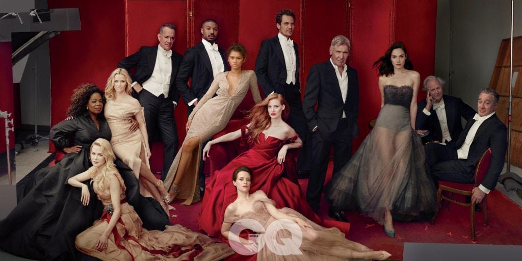 왼쪽부터 | Oprah Winfrey, Nicole Kidman, Reese witherspoon, Tom Hanks, Michael B. Jordan, zendaya, Jessica chastain, Claire Foy, Michael Shannon, Harrison ford, Gal gadot, Graydon carter, Robert de niro