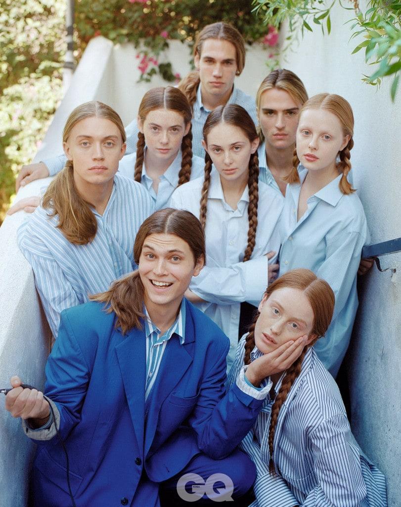 블루 수트와 줄무늬 셔츠, 모두 마틴 로즈. 애틀랜타 줄무늬 셔츠, 아크네 스튜디오. 가는 줄무늬 셔츠, 꼬르넬리아니. 남자가 입은 줄무늬 셔츠, 타미 힐피거. 민무늬 셔츠, 줄무늬 셔츠, 코튼 셔츠,  모두 브룩스 브라더스.  진한 줄무늬 셔츠, 발렌티노.