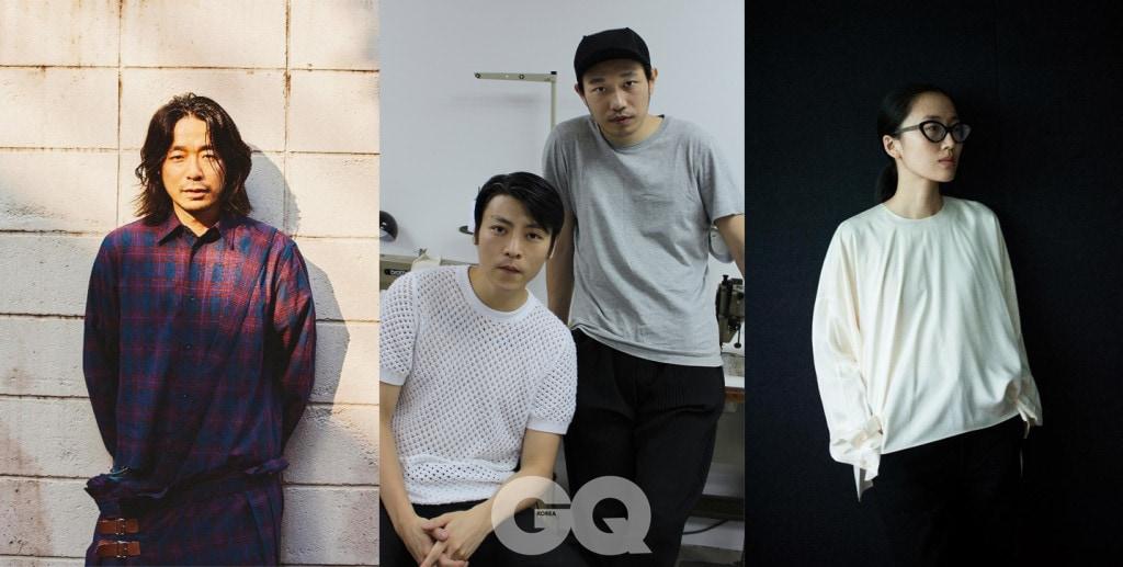프닝 갈라쇼 '센터스테이지 엘리츠(CENTRESTAGE Elites)'의 무대에서 2019년 S/S 컬렉션을 선보이는 3개의 브랜드. (왼쪽부터) FACETASM의 히로미치 오치아이, IDISM의 사이러스 웡과 줄리오 응, Ms MIN의 민 리우.